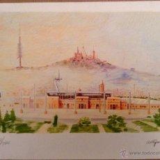 Arte: FRANCESC ARTIGAU MONTJUIC Y EL TIBIDABO LITOGRAFIA EN VARIOS COLORES. Lote 46565400