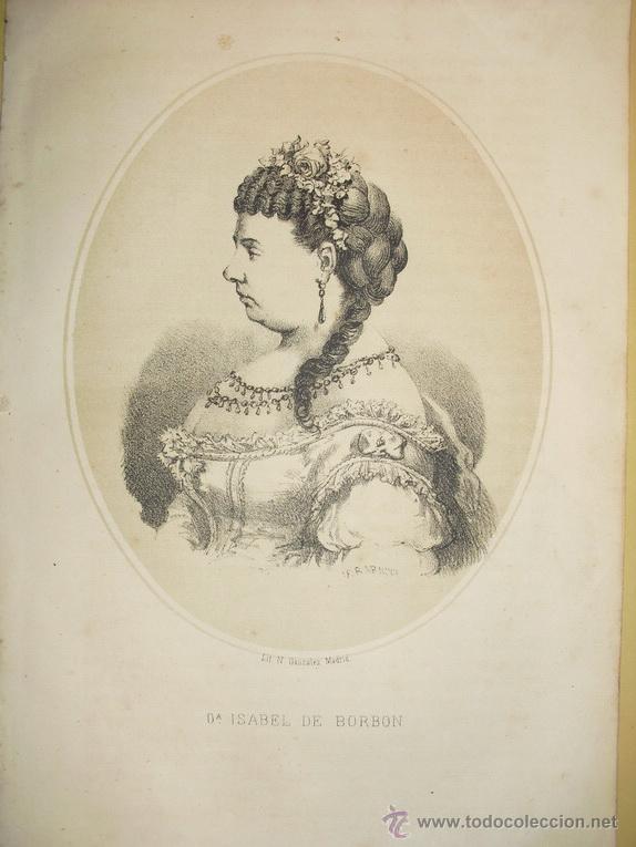1870 LITOGRAFIA DE ISABEL II (Arte - Litografías)