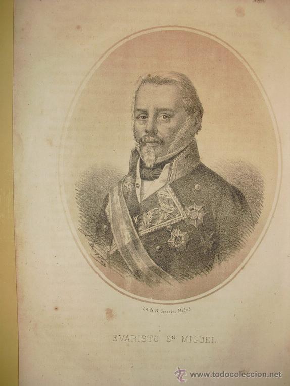 1870 LITOGRAFIA DEL GENERAL EVARISTO SAN MIGUEL (Arte - Litografías)