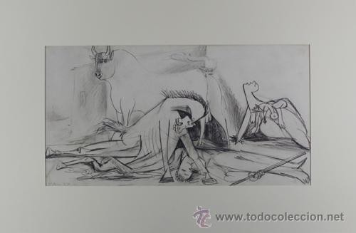PICASSO TORO CABALLO Y MUJER ESTUDIO PARA EL GUERNICA 20 EDICIÓN FACSÍMIL 1000 EJEMPLAR SELLO SPADEM (Arte - Litografías)
