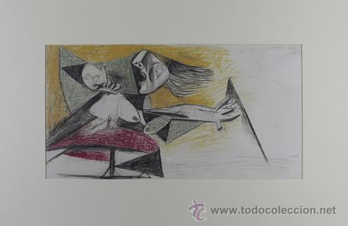 PICASSO MUJER ATERRORIZADA COLOR ESTUDIO PARA EL GUERNICA 22 EDICIÓN FACSÍMIL 1000 EJEM SELLO SPADEM (Arte - Litografías)