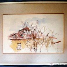 Arte: BUHARDILLAS DE PLAZA DE LA PASA -MADRID- GRAN ACUARELA S/ CARTULINA 46 X 31,5. FDO. F.LAMATR 1979. . Lote 48336063