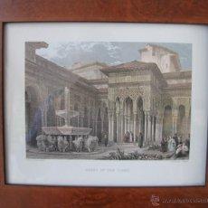 Arte: PATIO DE LOS LEONES ALHAMBRA GRANADA LITOGRAFIA COEDICION DE DAVID ROBERTS Y GRABADO DE J. FIHER. Lote 48819972
