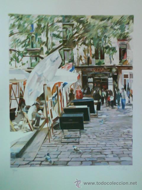 LITOGRAFÍA TITULADA PLAÇA SANT JOSEP ORIOL - FRANCESÇ SILLUÉ (Arte - Litografías)