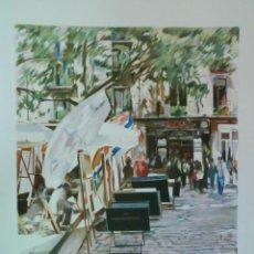 Arte: LITOGRAFÍA TITULADA PLAÇA SANT JOSEP ORIOL - FRANCESÇ SILLUÉ. Lote 49200749