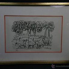 Arte: PAISAJE CON CABRAS Y ARBOLES FIRMA I S AÑOS 60 70 38X50,5CMS. Lote 49508163