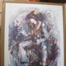 Arte: GRAN LITOGRAFIA UNICA BOCETO DIBUJO DE FIGURA DE PORCELANA LLADRO ARTISTA ENRIQUE SANISIDRO . Lote 50352111