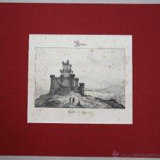 Arte: ESTAMPA LITOGRAFICA VISTA DEL CASTILLO ALAVES DE GUEVARA. AÑO 1844. Lote 51305363
