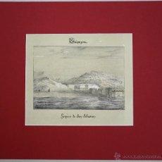 Arte: ESTAMPA LITOGRAFICA VSTA PANORAMICA DEL HOSPICIO DE SAN SEBASTIAN. AÑO 1844. Lote 51306409