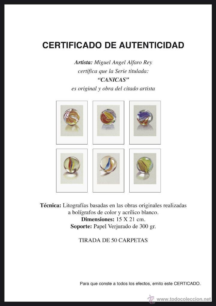 Arte: Carpeta con 6 grabados (tipo Litografía). -CANICAS-. Autor: Miguel Alfaro - Foto 7 - 152701334