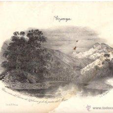 Arte: LITOGRAFIA UNA VISTA DEL BARRIO DE VALNERA Y DE LA PEÑA DEL MORO. VIZCAYA. CIRCA 1860. Lote 51958882