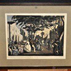Arte: LLUÍS MUNTANÉ MUNS (MATARÓ, 1899 - BCN, 1987) LITOGRAFÍA ILUMINADA. EL LLANO DE LAS COMEDIAS. Lote 52157888