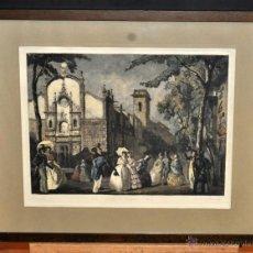 Arte: LLUÍS MUNTANÉ MUNS (MATARÓ, 1899 - BCN, 1987) LITOGRAFÍA ILUMINADA. LA IGLESIA DE BELEN EN 1840. Lote 52157944