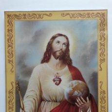 Arte: LITOGRAFIA EN CARTULINA DEL CORAZON DE JESUS DE 27 X 21 CMS. Lote 177415534