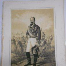 Arte: LITOGRAFÍA Y BIOGRAFIA DEL TENIENTE GENERAL ANSELMO BLASER NACIDO EN SIRESA (ARAGON) 1807-1872.. Lote 52812557