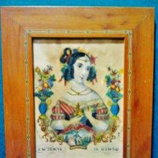 Arte: EL OTOÑO. ANTIGUA LITOGRAFÍA FRANCESA COLOREADA CON MARCO DE MARQUETERÍA.. Lote 52828894