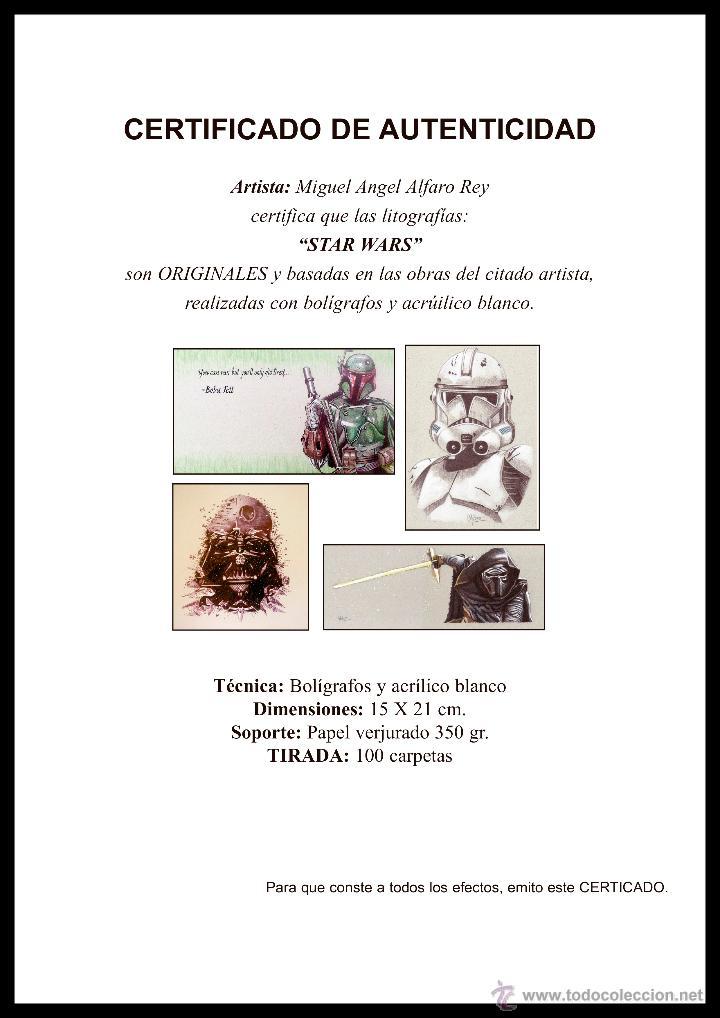 Arte: Carpeta con 4 láminas (tipo litografía). -STAR WARS-. Autor: Miguel Angel Alfaro - Foto 6 - 135188341