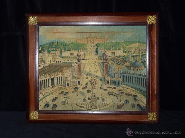 EXPOSICIÓN INTERNACIONAL DE BARCELONA 1929. LITOGRAFIA SOBRE LIENZO. ENMARCADO 60X50 CM (Arte - Litografías)