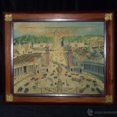 Arte: EXPOSICIÓN INTERNACIONAL DE BARCELONA 1929. LITOGRAFIA SOBRE LIENZO. ENMARCADO 60X50 CM. Lote 53407256