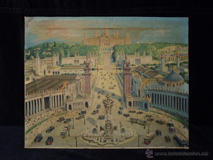 Arte: EXPOSICIÓN INTERNACIONAL DE BARCELONA 1929. LITOGRAFIA SOBRE LIENZO. ENMARCADO 60x50 cm - Foto 2 - 53407256