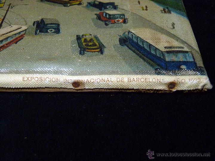 Arte: EXPOSICIÓN INTERNACIONAL DE BARCELONA 1929. LITOGRAFIA SOBRE LIENZO. ENMARCADO 60x50 cm - Foto 3 - 53407256