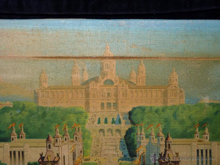 Arte: EXPOSICIÓN INTERNACIONAL DE BARCELONA 1929. LITOGRAFIA SOBRE LIENZO. ENMARCADO 60x50 cm - Foto 4 - 53407256