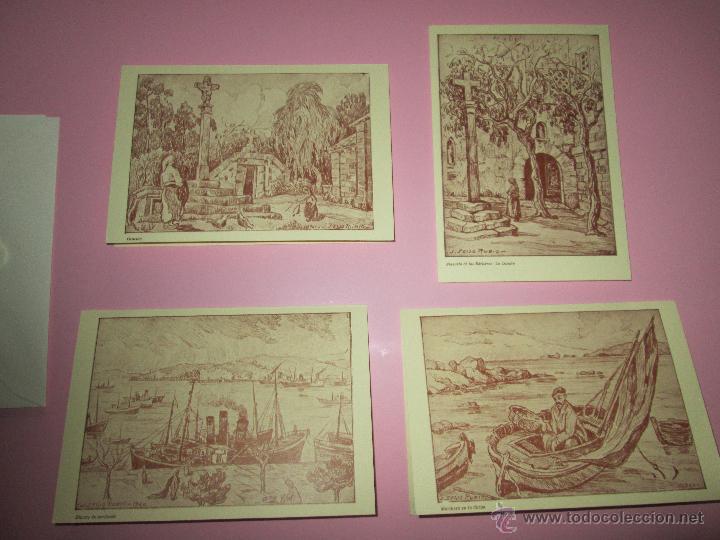 LOTE 4 LITOGRAFÍAS-FORMATO POSTAL-JOSÉ SEIJO RUBIO-(PINTOR GALLEGO)-SOBRES-VER FOTOS. (Arte - Litografías)