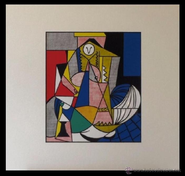 CURIOSA LITOGRAFIA ROY LICHTENSTEIN FEMME D'ALGER 1963 ENMARCADA Y DE EDICION LIMITADA A 1000 UND (Arte - Litografías)