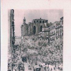 Arte: LITOGRAFIA DE ALEXANDRE CARDUNETS - PASSEIG DEL BORN, BARCELONA, AL FONS STA MARIA DEL MAR (11,5X17). Lote 54016774