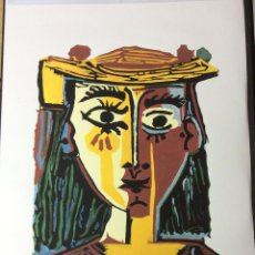Arte: BUST OF A WOMAN WITH HAT PICASSO LITOGRAFÍA. Lote 54062177