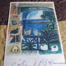 Arte: GRAN LITOGRAFIA DE PABLO PICASSO CÔTE D´AZUR 1962 HENRI DESCHAMPS. Lote 54422721