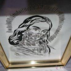 Arte: CUADRO CON MARCO DORADO Y CRISTO GRABADO EN CRISTAL. Lote 55076700