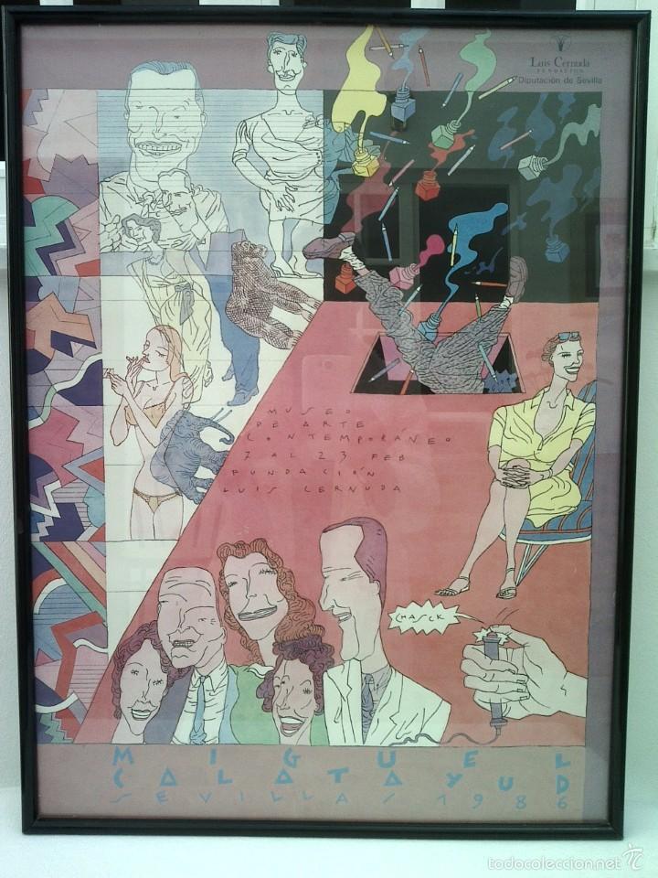 MIGUEL CALATAYUD GRAN CARTEL EXPOSICION SEVILLA 1986 68X50 CMS (Arte - Litografías)