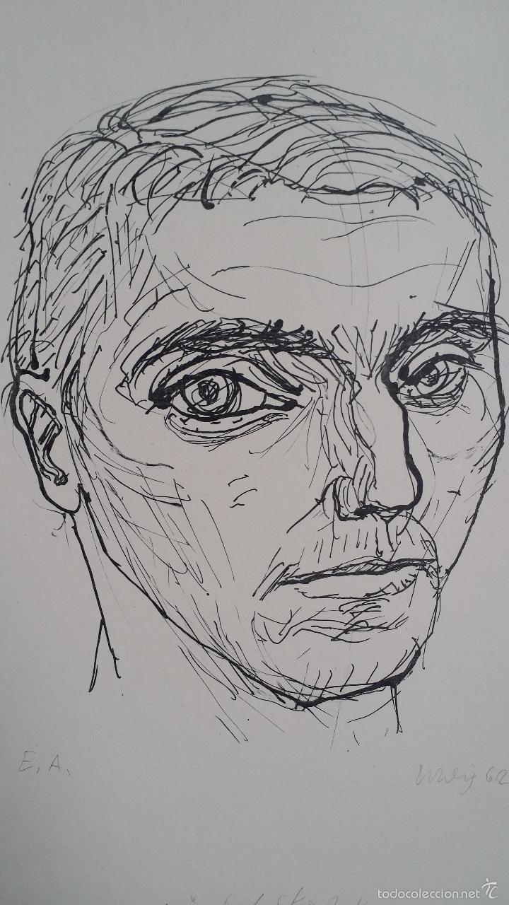 Arte: MAX UHLIG: Retrato, 1962 / litografía justificada y firmada a lápiz - Foto 2 - 55542104