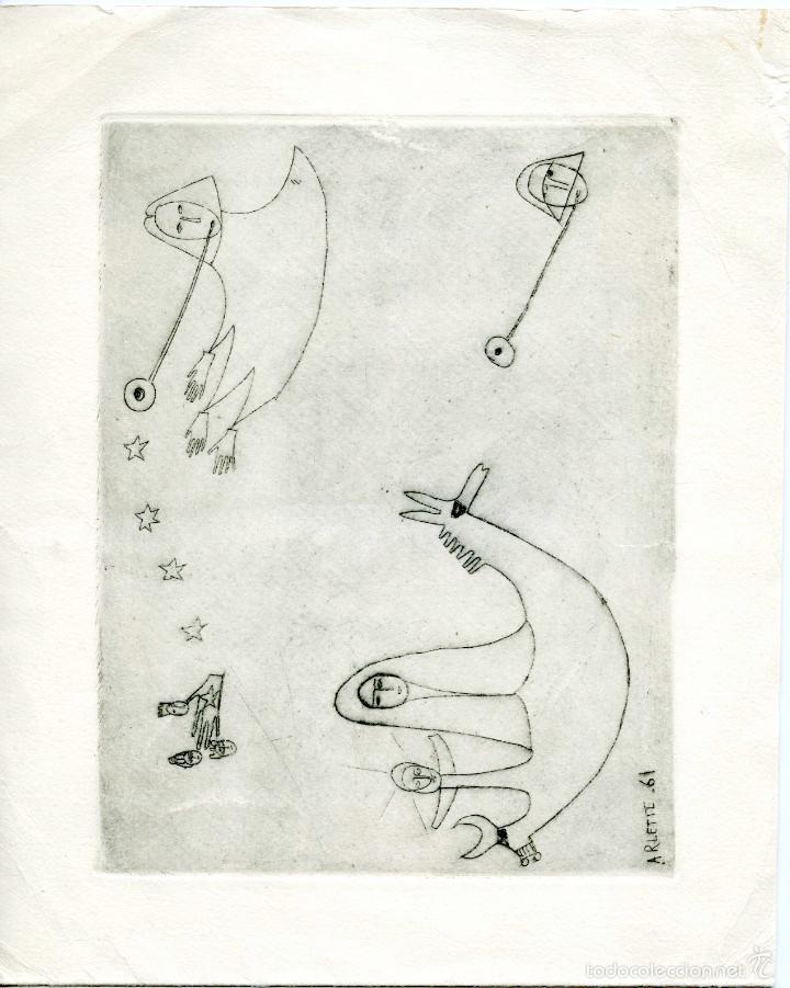 2 PEQUEÑOS GRABADOS LITOGRÁFICOS FIRMADOS DE LA ESCULTORA ARLETTE PARVINE CURIE, 1959 Y 1961. (Arte - Litografías)