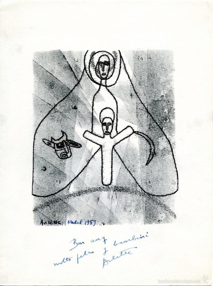 Arte: 2 pequeños grabados litográficos firmados de la escultora Arlette Parvine Curie, 1959 y 1961. - Foto 3 - 56168517