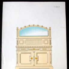 Arte: LITOGRAFIA COLOR - BUFFET PARA COMEDOR - C1900 - 39,5X28CM - ESCALA 1: 10 . EBANISTERÍA. Lote 56422199