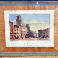 Arte: LOUIS JULES ARNOUT (1814 - 1868) LITOGRAFÍA ILUMINADA DEL SG. XIX. ALICANTE (PLAZA DEL AYUNTAMIENTO). Lote 58065430