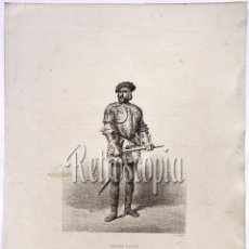 Arte: LITOGRAFIA HISTORIA DE ESPAÑA CAPITULO XXXVI HERNÁN CORTÉS LIT. SERRA 1871. Lote 58212352