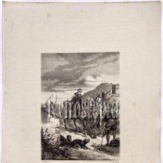 Arte: LITOGRAFIA HISTORIA DE ESPAÑA CAPITULO XLVI EXPEDICIÓN DE FRANCISCO PIZARRO A PERÚ LIT. SERRA 1871. Lote 58212430