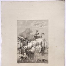 Arte: LITOGRAFIA HISTORIA DE ESPAÑA CAPITULO CXIV LA BATALLA DE LEPANTO LIT. SERRA 1871. Lote 58212571