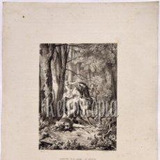Arte: LITOGRAFIA HISTORIA DE ESPAÑA CAPITULO CXIV MUERTE DE DON JUAN I DE ARAGÓN LIT. SERRA 1871. Lote 58212656