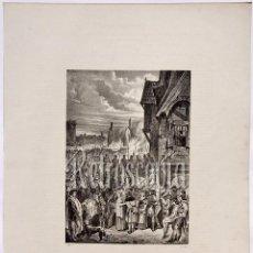Arte: LITOGRAFIA HISTORIA DE ESPAÑA CAPITULO XCIII FIN DE LOS TEMPLARIOS LIT. SERRA 1871. Lote 58212716