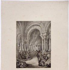 Arte: LITOGRAFIA HISTORIA DE ESPAÑA CAP. XXX ALMANZOR ANTE EL SEPULCRO DEL APÓSTOL SANTIAGO LIT SERRA 1871. Lote 58212832