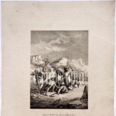 Arte: LITOGRAFIA HISTORIA DE ESPAÑA CAPITULO LIII HEROICA MUERTE DEL CAPITÁN NUÑO ALFONSO LIT. SERRA 1871. Lote 58212963