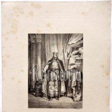 Arte: LITOGRAFIA HISTORIA DE ESPAÑA CAPITULO LIV DON ALFONSO VII EMPERADOR LIT. SERRA 1871. Lote 58213013