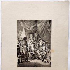 Arte: LITOGRAFIA HISTORIA DE ESPAÑA CAPITULO LVI TRATADO DE VALDEVEZ LIT. SERRA 1871. Lote 58213033