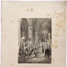 Arte: LITOGRAFIA HISTORIA DE ESPAÑA CAPITULO L PROCLAMACIÓN DEL EMPERADOR DON ALFONSO LIT. SERRA 1871. Lote 58213069