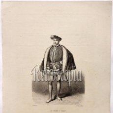 Arte: LITOGRAFIA HISTORIA DE ESPAÑA CAPITULO CIII EL PRÍNCIPE DON CARLOS LIT. SERRA 1871. Lote 58213126