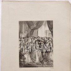 Arte: LITOGRAFIA HISTORIA DE ESPAÑA CAP. LXXVI EL PRÍNCIPE FELIPE BAILANDO CON SU ESPOSA LIT. SERRA 1871. Lote 58213187
